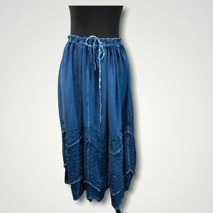 Coline Chambray Long Blue Skirt Large